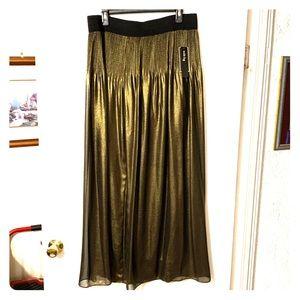 Alfani Metallic Gold Sheer Pleated Palazzo Pants